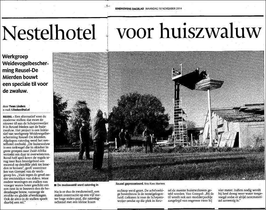 Krantenartikel nestelhotel Kuijpers Metaal maakt mede mogelijk...